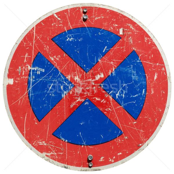 Signe panneau de signalisation isolé blanche fond Photo stock © claudiodivizia