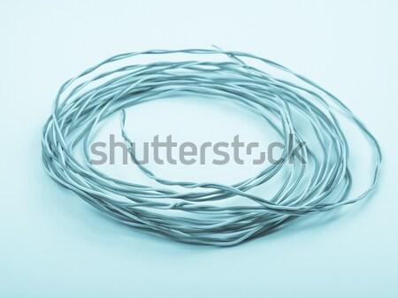 Telefoon kabel detail Rood witte telefonie Stockfoto © claudiodivizia