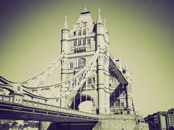 Vintage sépia Tower Bridge Londres retro rio Foto stock © claudiodivizia