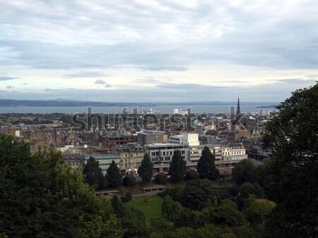 Edinburgh kilátás város Skócia sziluett Stock fotó © claudiodivizia