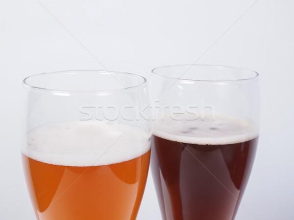 2 眼鏡 ビール 暗い 白 ストックフォト © claudiodivizia
