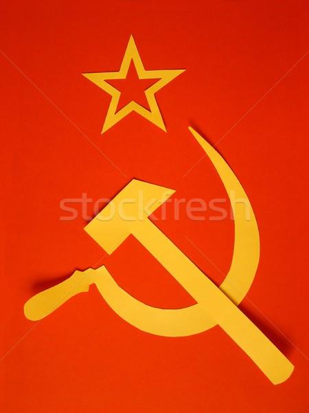 Vlag communist hamer symbolen communisme Geel Stockfoto © claudiodivizia