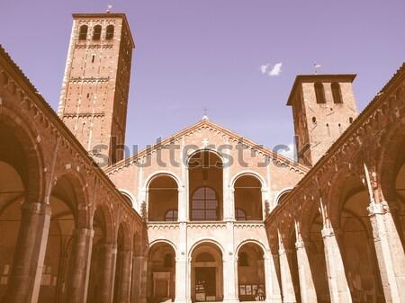 Retro looking Sant Ambrogio church, Milan Stock photo © claudiodivizia