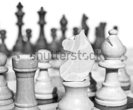 Satranç tahtası ahşap ışık karanlık ahşap arka plan Stok fotoğraf © claudiodivizia