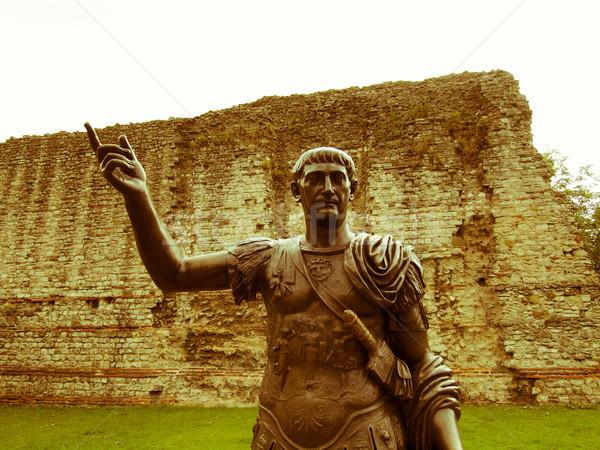 Retro looking Emperor Trajan Statue Stock photo © claudiodivizia