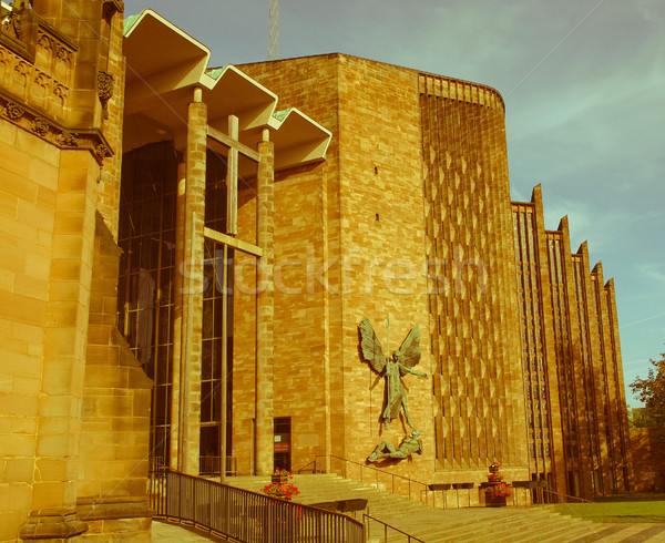 Retro looking Coventry Cathedral Stock photo © claudiodivizia