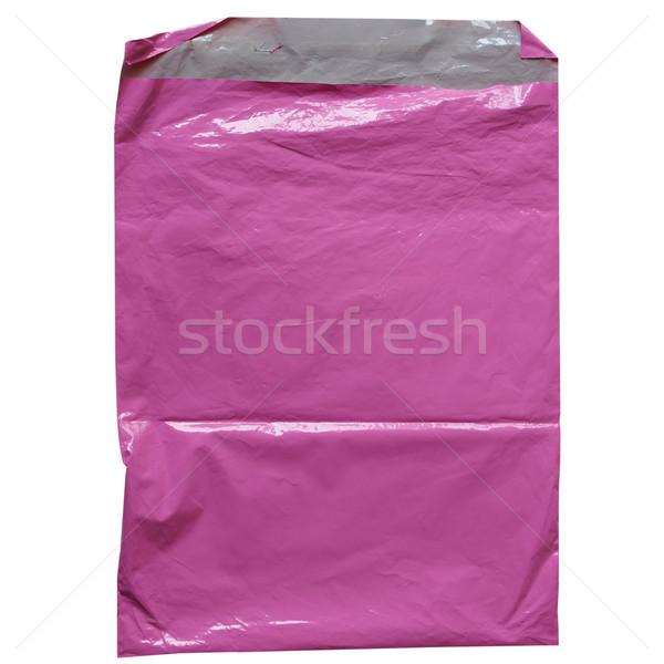 Rózsaszín táska műanyag izolált fehér háttér Stock fotó © claudiodivizia