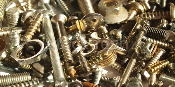Foto stock: Hardware · industrial · acero · nueces · fondo · hierro