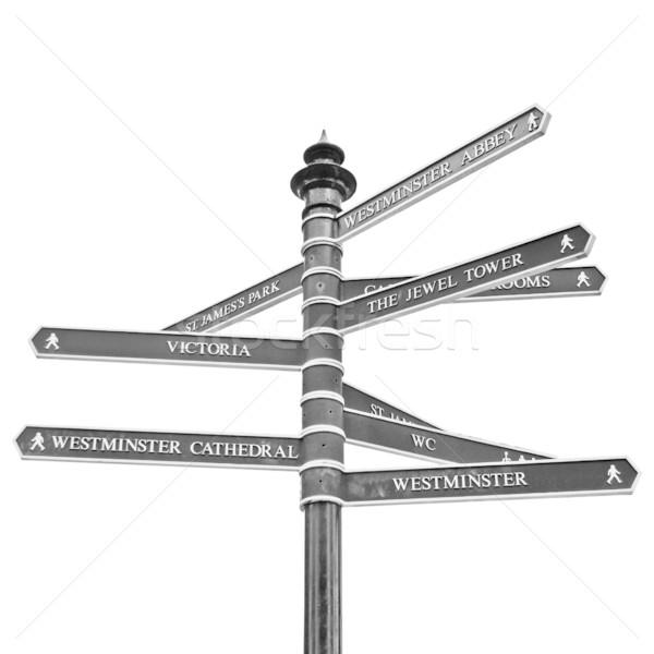 Stock foto: Zeichen · Verkehr · Richtung · Pfeile · London · isoliert