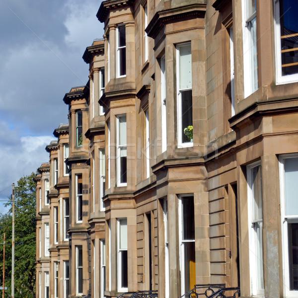 Házak csetepaté Glasgow nyugat befejezés Skócia Stock fotó © claudiodivizia