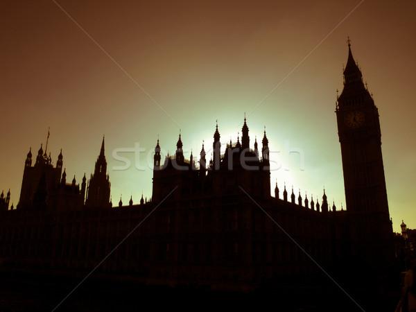 Retro bakıyor evler parlamento bağbozumu bakmak Stok fotoğraf © claudiodivizia