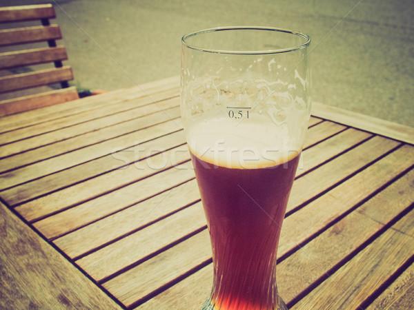 Foto stock: Retro · veja · cerveja · vintage · olhando · vidro