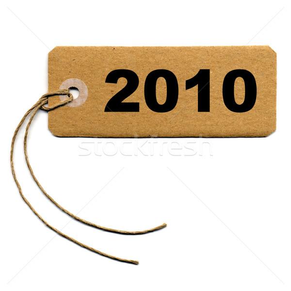 Tag label geïsoleerd witte jaar 2010 Stockfoto © claudiodivizia