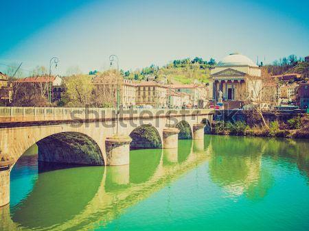 Retro look River Po, Turin Stock photo © claudiodivizia