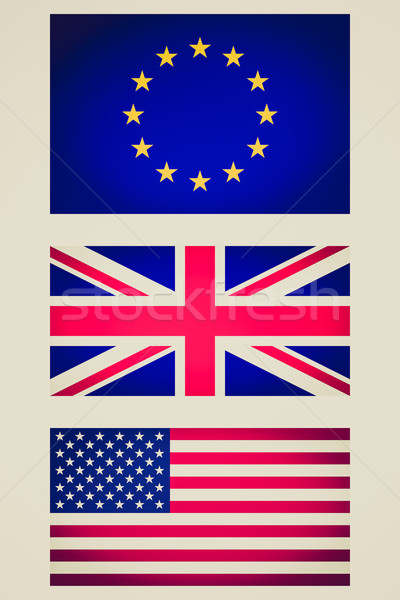 Retro look EU UK USA flag vignetted illustration Stock photo © claudiodivizia