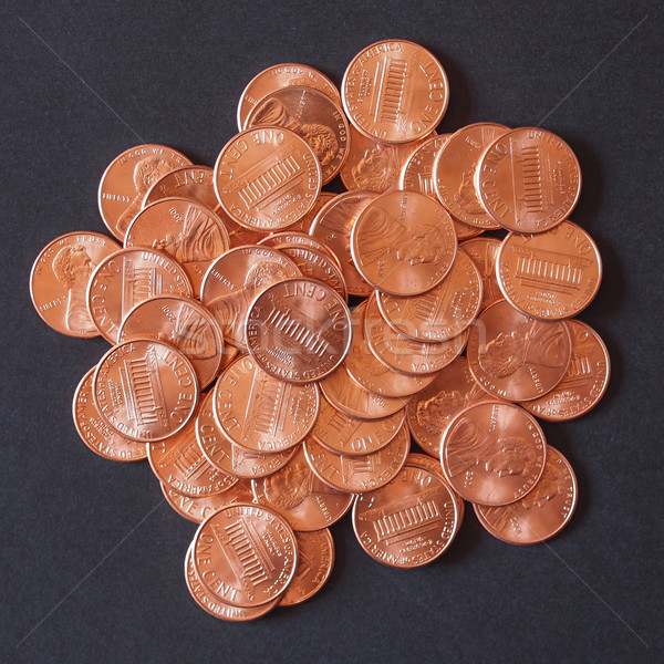 Stock photo: Dollar coins 1 cent wheat penny cent