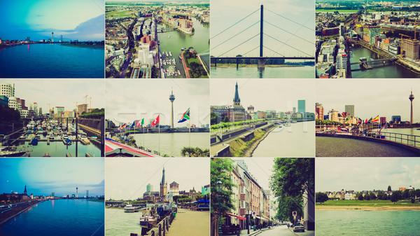 Retro look Duesseldorf landmarks Stock photo © claudiodivizia
