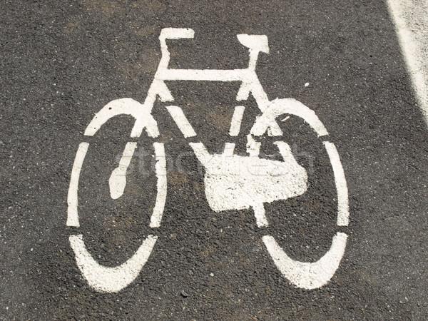 велосипедов знак черный белый дороги краской Сток-фото © claudiodivizia