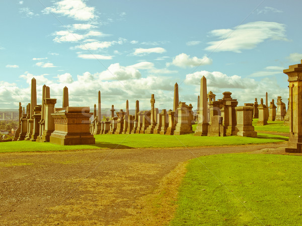 Retro look Glasgow necropolis Stock photo © claudiodivizia
