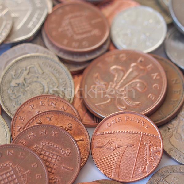 Brit font érme makró kép érmék Stock fotó © claudiodivizia