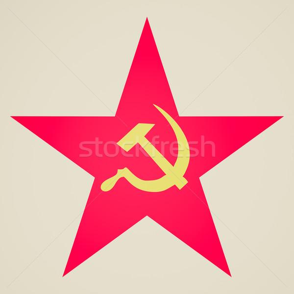 Vintage kijken communist star retro naar Stockfoto © claudiodivizia