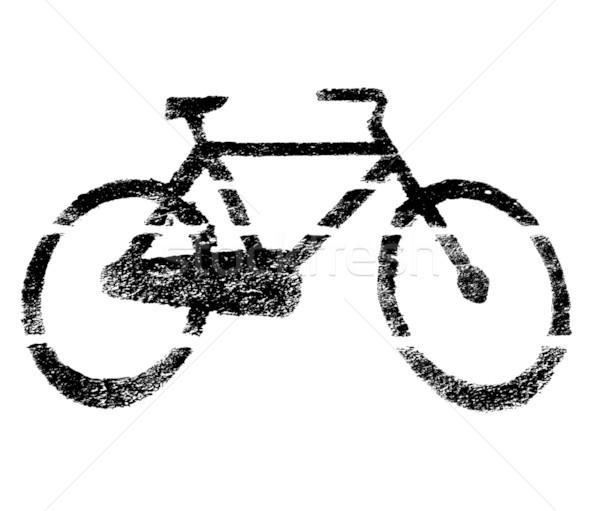 Fiets teken stencil zwart wit verf Stockfoto © claudiodivizia