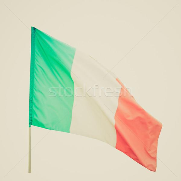 Rétro Rechercher drapeau italien vintage regarder pavillon Photo stock © claudiodivizia