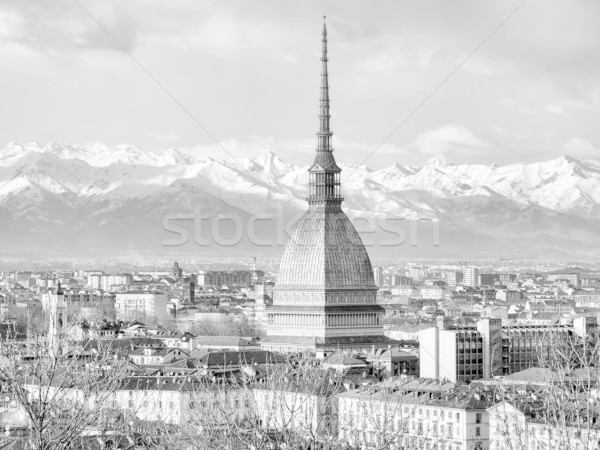 Torino kilátás város Torino sziluett panoráma Stock fotó © claudiodivizia