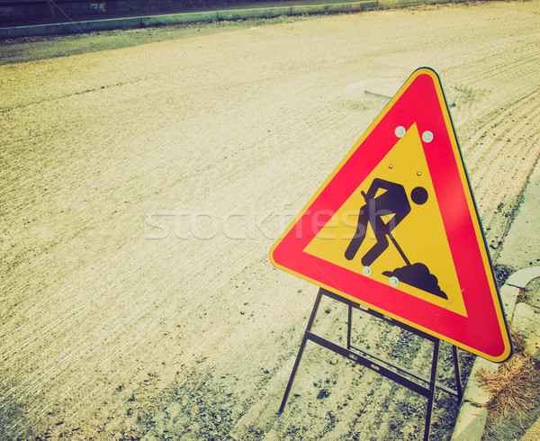 Retro look Road works Stock photo © claudiodivizia