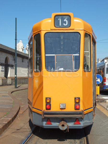 Foto stock: Bonde · trem · transporte · público · massa · trânsito