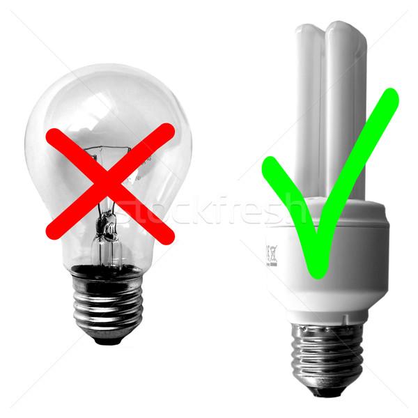 Hagyományos vs fluoreszkáló villanykörte nap elektromos Stock fotó © claudiodivizia