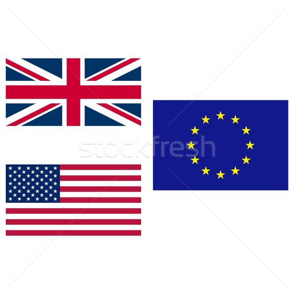 USA EU zászló Egyesült Királyság Egyesült Államok Európa Stock fotó © claudiodivizia
