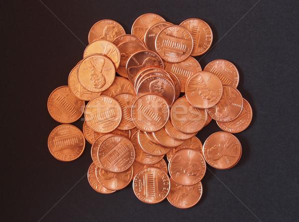 Dollar munten cent tarwe penny een Stockfoto © claudiodivizia