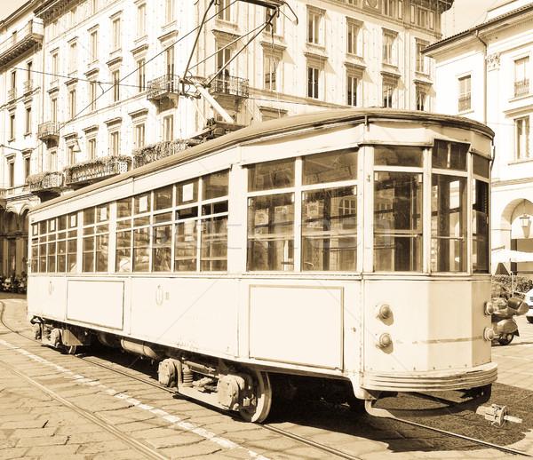Vintage bonde milan histórico trem Itália Foto stock © claudiodivizia