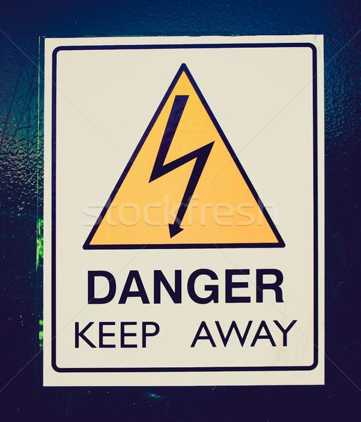 Retro look Danger keep away Stock photo © claudiodivizia