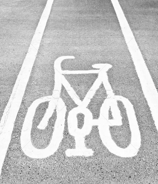 Fahrrad Spur Zeichen Fahrrad Stock foto © claudiodivizia