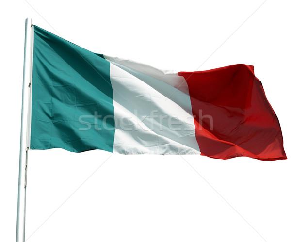 Bandeira italiana Itália isolado branco verde bandeira Foto stock © claudiodivizia