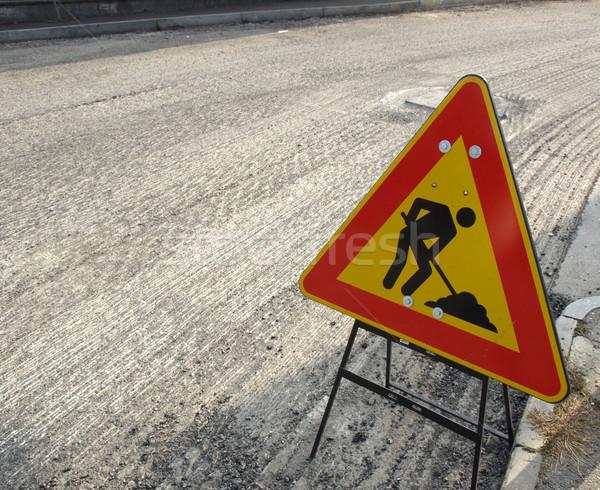 Straße Verkehrszeichen Baustelle Verkehr Asphalt Stock foto © claudiodivizia