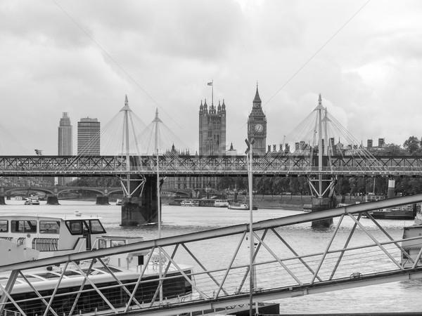 Foto d'archivio: Fiume · thames · Londra · panoramica · view · bianco · nero