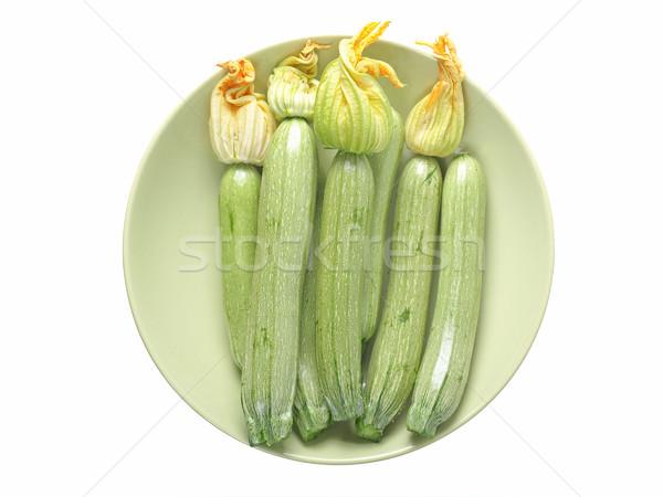 Courgettes détail légumes alimentaire isolé blanche Photo stock © claudiodivizia