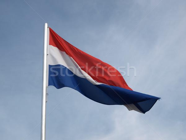 Vlag Nederland blauwe hemel Blauw Europa Stockfoto © claudiodivizia