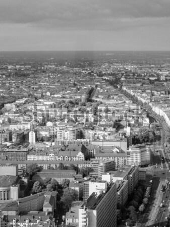Berlin légifelvétel kilátás város Németország feketefehér Stock fotó © claudiodivizia
