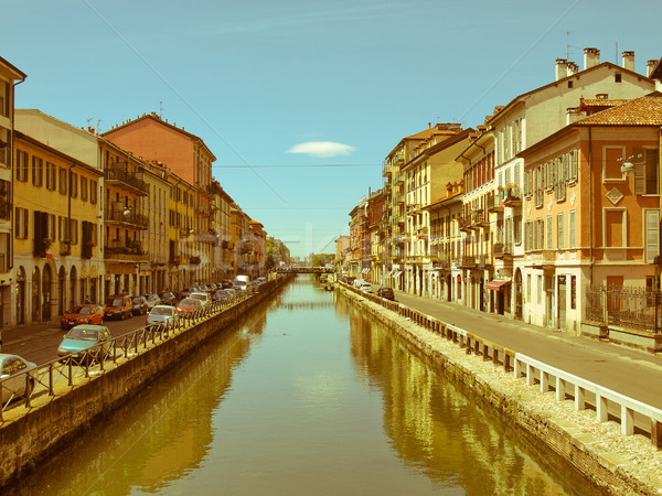 Retro looking Naviglio Grande, Milan Stock photo © claudiodivizia