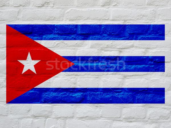 Kubai zászló Kuba fehér téglák fal Stock fotó © claudiodivizia