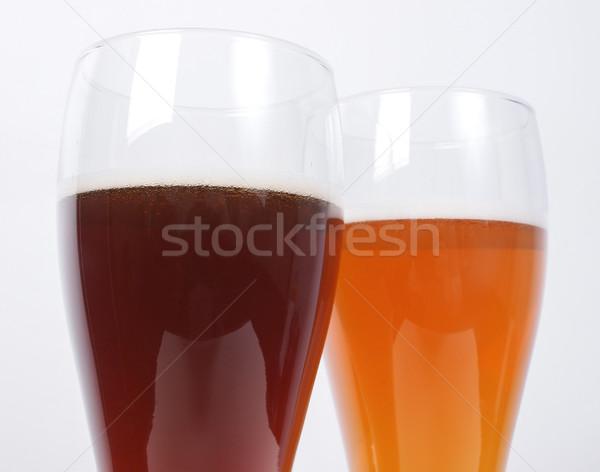 Iki gözlük bira karanlık beyaz Stok fotoğraf © claudiodivizia