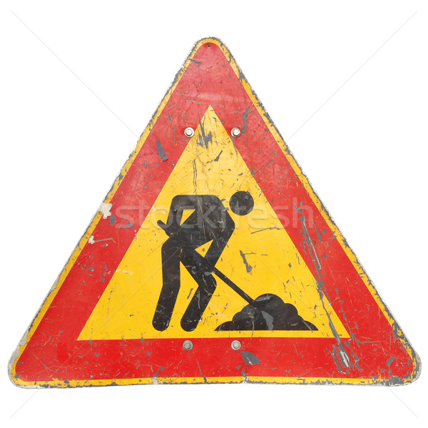 Roadworks sign Stock photo © claudiodivizia