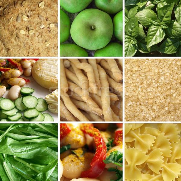 Foto stock: Alimentos · collage · fotos · hortalizas · frutas · pasta