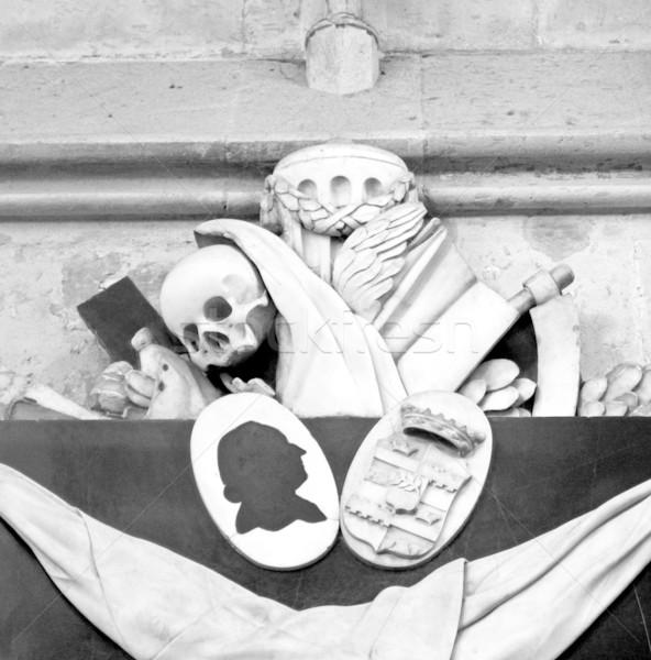Memento mori - skull, reaper sickle Stock photo © claudiodivizia