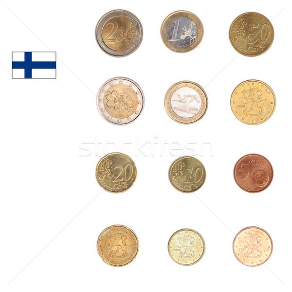 Foto stock: Euro · moeda · Finlândia · moedas · tanto · internacional