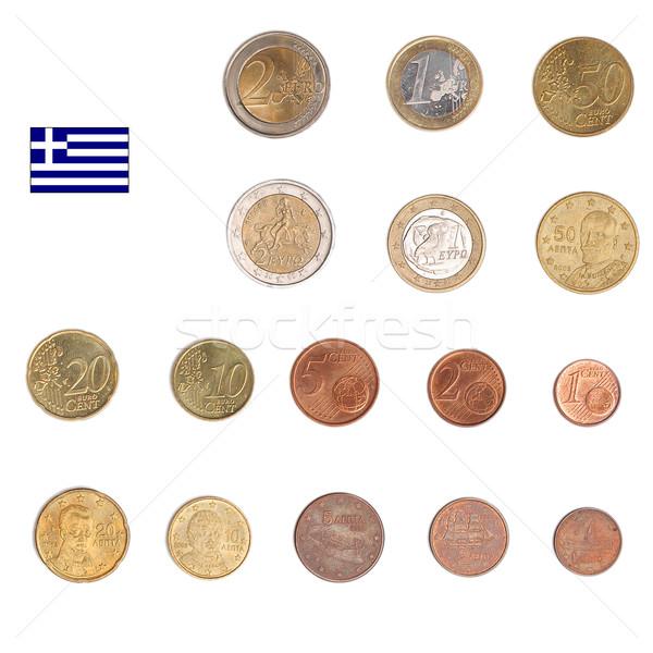 Foto stock: Euro · moeda · Grécia · moedas · tanto · internacional